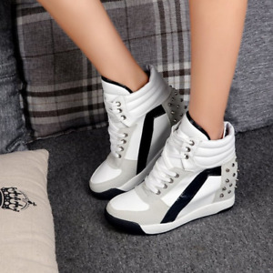 Women's Chic Studded Wedge Hidden Heel Ankle Shoes Sporty High Top Sneakers