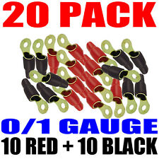 """20 Pack 1/0 Gauge Wire Cable Ring Terminals Connectors Red and Black Boots 5/16"""""""