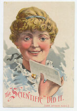 Scientific Grinding Mill trade card - woman is getting letter
