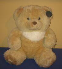 """1988 Chrisha Playful Plush Chubby 16"""" Cream Teddy Bear Stuffed Plush w/Ear Tag"""