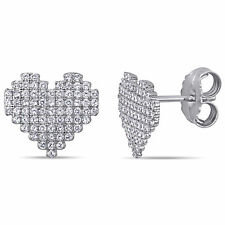 Amour Sterling Silver Cubic Zirconia Clustered Heart Stud Earrings