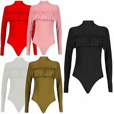 New Womens Soft Ruched Frill Polo Neck Bodysuit Leotard Tops