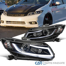 Fit 12-15 Honda Civic 2/4Dr Black Projector Headlights Head Lamps+LED DRL Bar