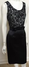 NWT TAHARI WOMEN SLEEVELESS SATIN AND LACE KNEE LENGTH  BLACK DRESS SIZE 6