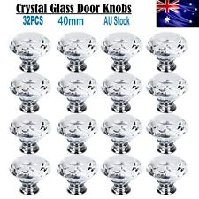 32X 40MM Clear Crystal Glass Door Knobs Furniture Drawer Cabinet Kitchen Handles