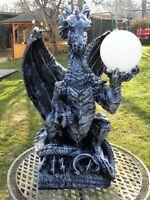 80 cm Drachen Gothic Mystik Garten Fantasy Skulptur DRACHENLAMPE Tier Figur Deko