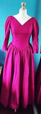 Vintage Laura Ashley 1980s Fuschia/Pink Cocktail/Ballgown Style Dress UK Size 10