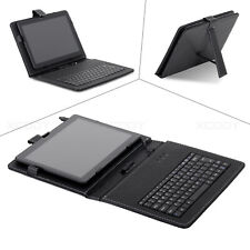 """For 10.1"""" inch Tablets Universal PU Leather Folio Keyboard Case Cover Micro USB"""