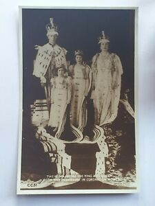 1937 British Post Card - Their Majesties and The Princesses in Coronation Robes