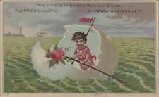 Victorian Trade Card-Fleming & Oakley's Clothing-Troy, NY-Kid Oaring Egg-Rose