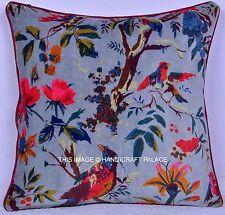"INDIAN BIRD FLORAL DECORATIVE VELVET GRAY CUSHION COVER BOHEMIAN SOFA DECOR 16"""