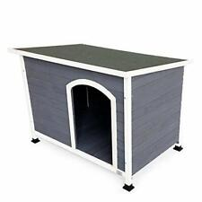 Outdoor Wooden Dog House with Hinges,Raised Feet,Openable Asphalt Roof&Removabl