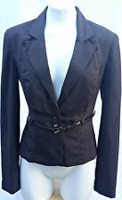 BCX Womens Jacket Brown Long Sleeve Belted Waist Lined Button Down Size Large