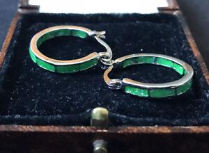 Vintage Style Jewellery Opal Enamel Earrings Silver Plated