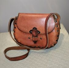 VINTAGE 60'S TOOLED LEATHER HIPPIE SHOULDER BAG SATCHEL FESTIVAL BROWN HANDBAG