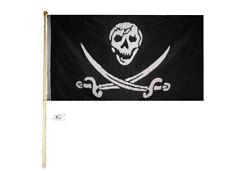 5' Wood Flag Pole Kit Wall Mount Bracket 3x5 Pirate Skull & Two Swords Poly Flag