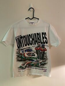 VTG 90s Jerzees NHRA John Force Funny Car Racing Double Sided T Shirt Size M