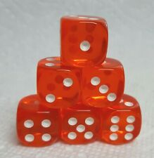 Dice 16mm Chessex TL Orange w/White Pips - Set of 6!  Bright Tangy Orange!
