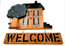 New listing Two Piece Decorative Wooden Welcome Happy Home Hanging Sign with Tree Swing