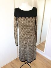 MONSOON M 12 14 Dress Gold Black Geometric Pattern Knitted LS Smart Work Party