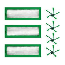 3 HEPA Efficient Filter + 4 Side Brush For Vorwerk Kobold VR200 Vacuum Cleaner
