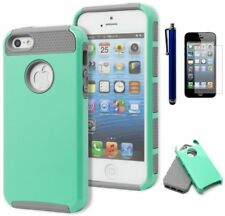 For iPhone 5, 5S, 5G, Hybrid Grey TPU/ Hard Mint Case+Stylus+Screen Protector