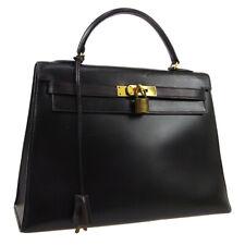 HERMES KELLY 32 SELLIER Hand Bag Z ◯C H Purse Black Box Calf Vintage JT09371