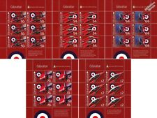 Set of 5 RAF RED ARROWS 50th Anniv. HAWK Aircraft Stamp Sheets (2014 Gibraltar)