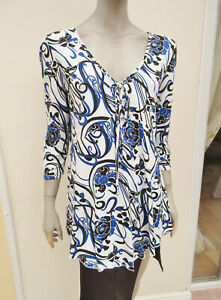 BM Collection - Womens White / Blue Mix Floral Stretch Top - size M