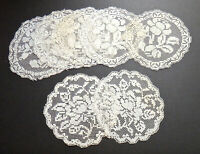 "7 Filet Lace Coasters Rounds 5"" Ivory Colored 2 Different Patterns Roses Antique"
