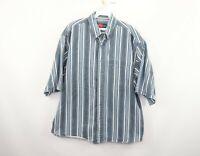 Vintage 90s Streetwear Mens XL Short Sleeve Striped Color Block Denim Jean Shirt