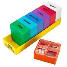 MEDca Weekly Pill Box Organizer Tray Detachable 4 Sections Medication