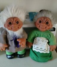 TH Dam Vintage Rare Grandpa & Grandma 1977 Troll Dolls