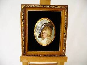 """Vintage Staffordshire Porcelain Framed  Wall Plaque - """"The Countess"""""""