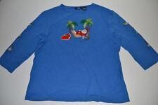 CB CASUAL UGLY CHRISTMAS SANTA CLAUS PALM TREE BLUE HOLIDAY SHIRT SIZE XL