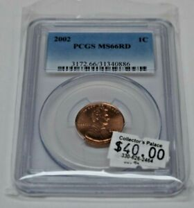 2002 P 1C LINCOLN PENNY PCGS MS66 RD BUSINESS STRIKE