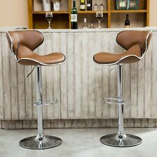 Mid Century Bar Stools Set of 2 Modern Faux Leather Swivel Adjustable Chair Seat