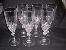 Set Six Waterford Wine Flutes Criss Cross Design with Globe on Stem - Vintage