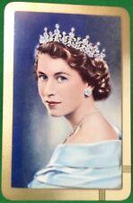 Playing Cards 1 Single Swap Card Old Vintage QUEEN ELIZABETH II Royal Royalty 5