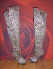 *16* RIVER ISLAND platform killer silver over the knee thigh boots UK3 EU36 Glam