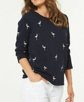Ex Bon Marche Navy Cotton  Knit Top Flamingo Embroidered 3/4 Sleeve Size 12-28