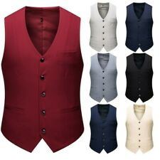 Men's Formal Slim Fit Single Breasted Vest Business Casual Wedding Waistcoat D