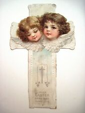 Vintage Adorable Die Cut of Two Sweet Little Angels Faces on An Easter Cross  *