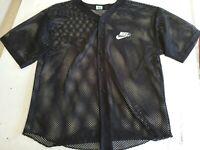 VTG Nike Mens Baseball Jersey Black White Spell Out Swoosh Mesh Shirt Large