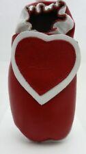 Weestep chaussons bébé cuir souple et suéde rouge blanc coeur 18-24 mois