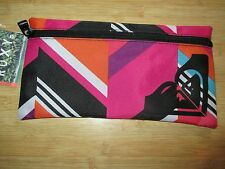 NEW ROXY SCHOOL STUDENT PENCIL Accessary CASE Pouch BAG Pink Multicolor