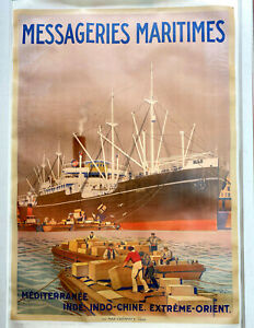 Large Original 1922 Georges Taboureau (Sandy Hook) Poster: Messageries Maritimes
