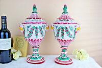 RARE PAIR faience de l'est Strasbourg Normandie Vases putti heads floral 1920
