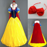 New Womens Deluxe Snow White Fancy Dress Costume Fairy Tale Princess Queen AU