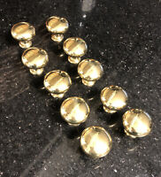 Lot of 10 Brass Gold Tone Drawer Pulls Heavy Shiny Vintage